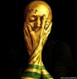 Emma Allen has used face paint to turn herself into the FIFA World Cup Trophy