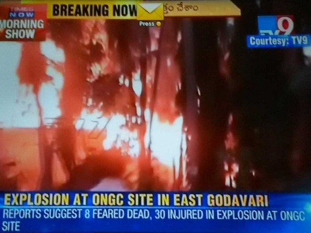 Flames could be seen erupting from a pipeline of the Gas Authority of India Limited in East Godavari district