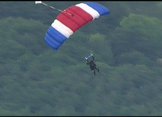 George H.W. Bush celebrated his 90th birthday by making a tandem parachute jump near his summer home in coastal Maine