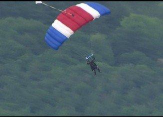 George H.W. Bush celebrated his 90th birthday by making a tandem parachute jump near his summer home in coastal Maine