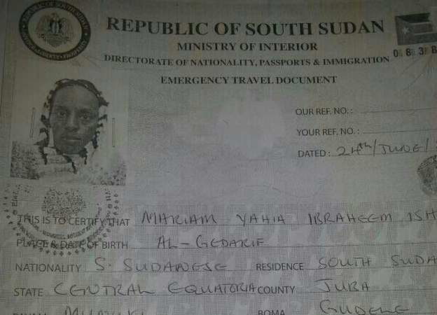 Mariam Ibrahim has been charged with forgery relating to the South Sudanese travel document she was carrying