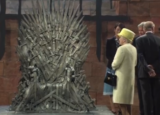 Queen Elizabeth and Prince Philip were presented with a miniature version of the infamous Iron Throne, which appears in Game of Thrones