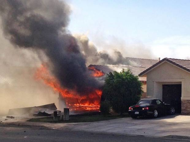 The AV-8B Harrier jet from the Yuma air base in Arizona has crashed into homes in the California desert