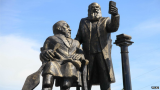The statue in the city of Ust-Kamenogorsk was built to honor two 19th Century figures