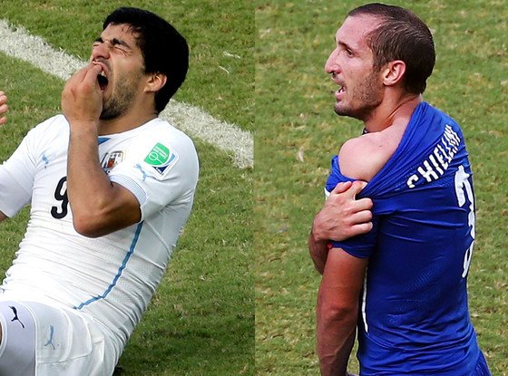 Uruguay's Luis Suarez appeared to bite Italy defender Giorgio Chiellini during a World Cup match