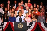 Barack Obama was interrupted by two people while delivering a speech on the economy at the Paramount Theater in Austin