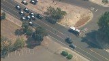 Fourteen police cars and an unknown number of homes along the robbers' path were peppered with gunshots during Stockton shootout