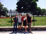 Jase Robertson with his wife Missy and their kids in front of the White House