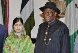 Malala Yousafzai has met Nigeria's President Goodluck Jonathan to press for more action to free at least 200 girls held by Boko Haram Islamist militants