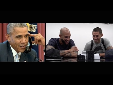 President Barack Obama calling Clint Dempsey and Tim Howard in São Paulo