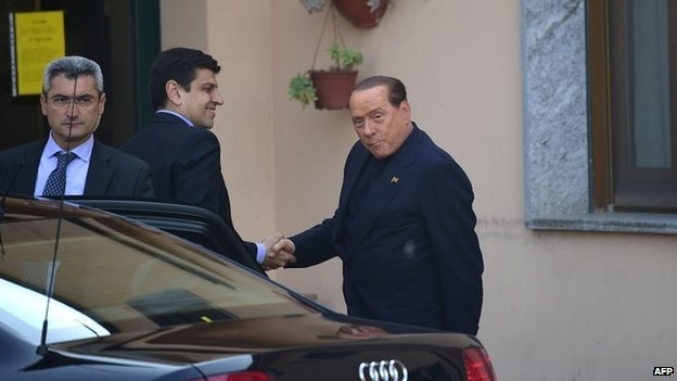 Silvio Berlusconi was ordered to help out at the Sacra Famiglia center as part of his one year sentence for tax fraud