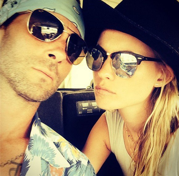 Adam Levine shared the first picture of himself and his new wife Behati Prinsloo since tying the knot last month in Mexico