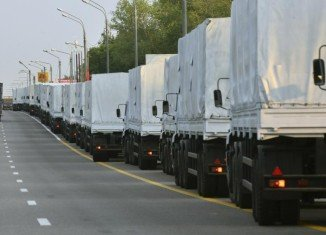 At least some of Russian aid convoy's 280 trucks are stalled in the Voronezh area