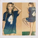 "Beyonce has instagramed a picture of herself wearing a ""Carter"" jersey in honor of her husband, Jay-Z"