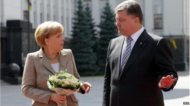 Chancellor Angela Merkel met President Petro Poroschenko in the Ukrainian capital Kiev