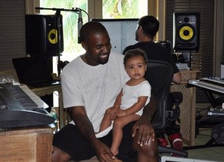 Kanye West and baby North in the recording studio