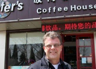 Kevin Garratt and his wife Julia couple run a coffee shop in Dandong just across the border from North Korea
