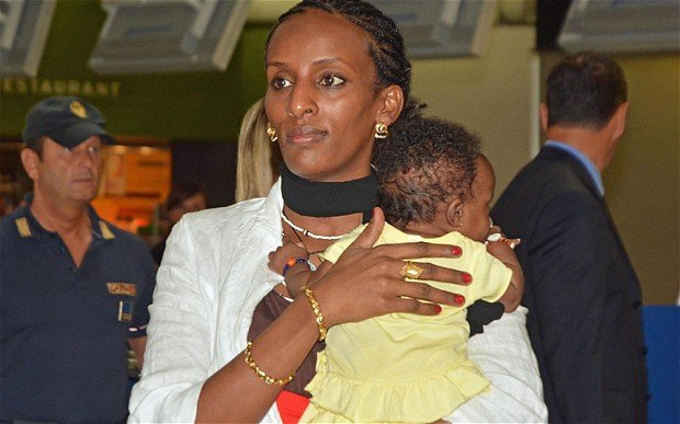 Meriam Yahia Ibrahim Ishag arrived in New Hampshire on Thursday evening with her American husband and her children