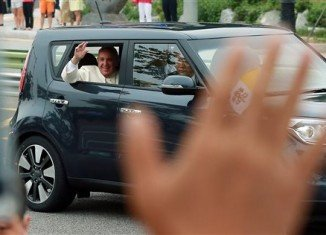 Pope Francis left Seoul airport in a compact black Kia that many South Koreans would consider too humble a conveyance for a globally powerful figure
