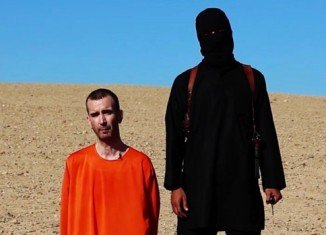 Masked ISIS militant pictured beside David Haines