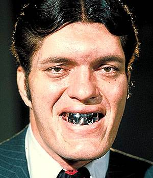 Richard Kiel played steel-toothed villain Jaws in two James Bond films, The Spy Who Loved Me in 1977 and Moonraker in 1979