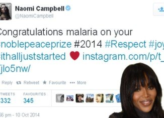 Naomi Campbell took to Twitter just hours after Malala Yousafzai was awarded the Nobel Peace Prize to add to her thoughts on the occasion