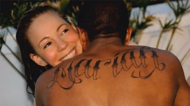 Nick Cannon got his Mariah Carey's first name inked across his shoulders in large letters shortly before they tied the knot in 2008