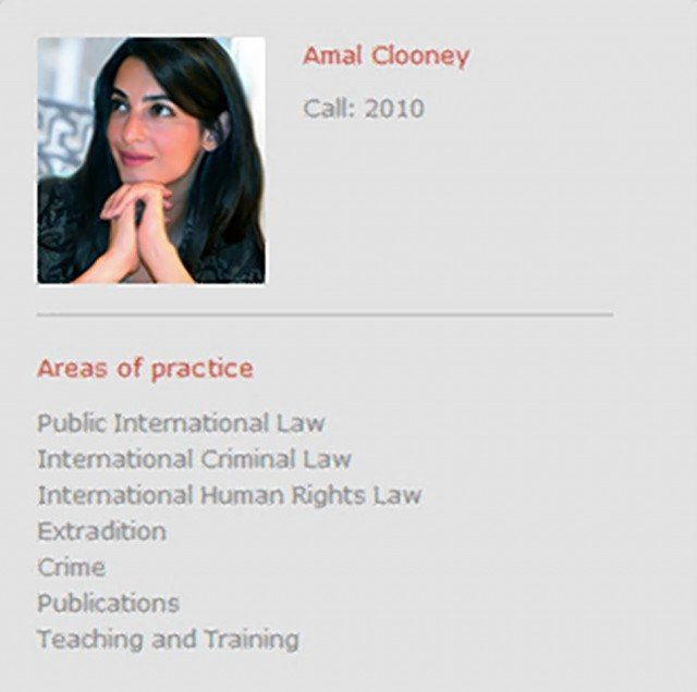 On Doughty Street Chambers' website now Amal Alamuddin's bio reads Amal Clooney