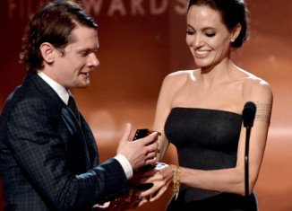 "Angelina Jolie greeted Jack O'Connell with ""ay up me duck"" at Hollywood Film Awards"