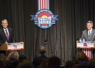 Colorado Senator Mark Udall and his challenger, Representative Cory Gardner