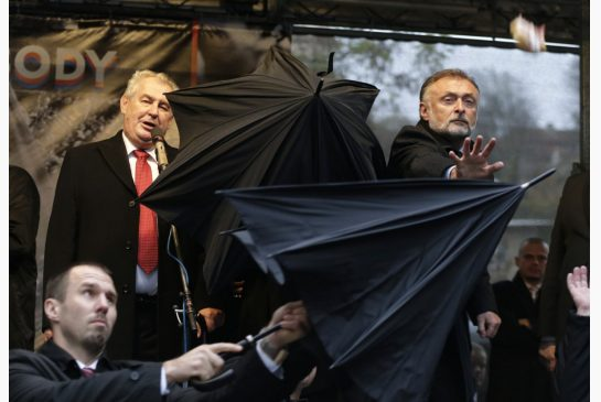 Czech President Milos Zeman has been pelted with eggs by angry protesters on the 25th anniversary of the Velvet Revolution