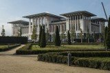 The controversial 1,000-room palace known as Ak Saray was built on a forested hilltop on the edge of Ankara, on more than 1.6 million sq ft of land