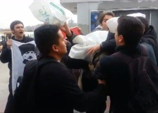 Three American sailors have been attacked by Turkish nationalist protesters in Istanbul