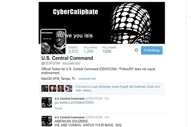 Centcom Twitter hacked by ISIS