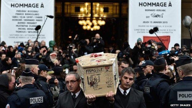 Charlie Hebdo Tignous funeral