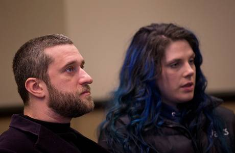 Dustin Diamond and Amanda Schutz in court