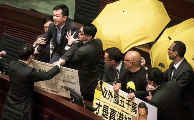 Hong Kong parliament protests during CY Leung speech