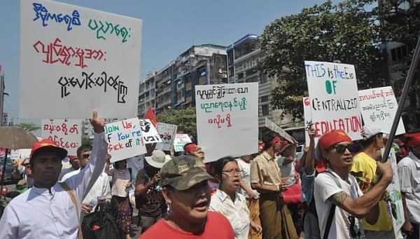 Myanmar student protests 2015