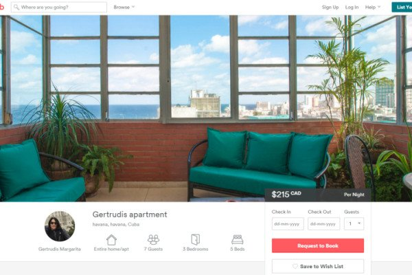 Airbnb adds Cuba on its list