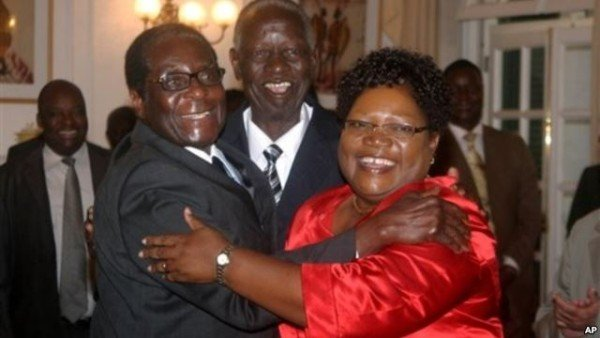 Joyce Mujuru and Robert Mugabe