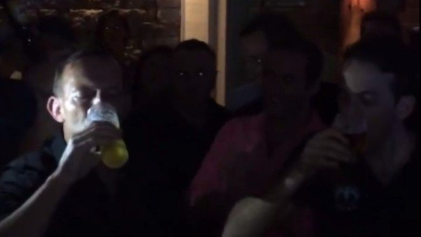 Tony Abbott drinking beer