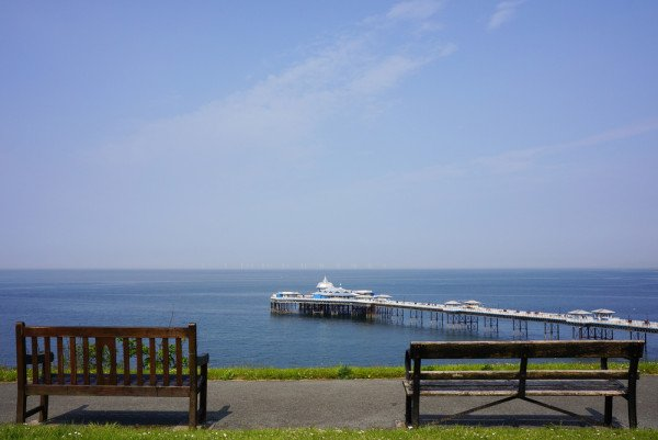 Wooden Benches and Llandudno Pier in Background