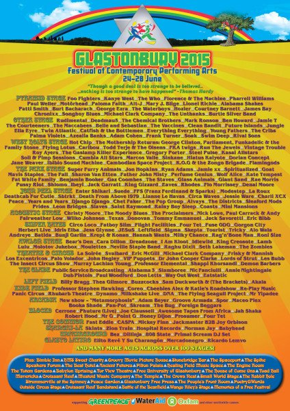 Glastonbury 2015 lineup
