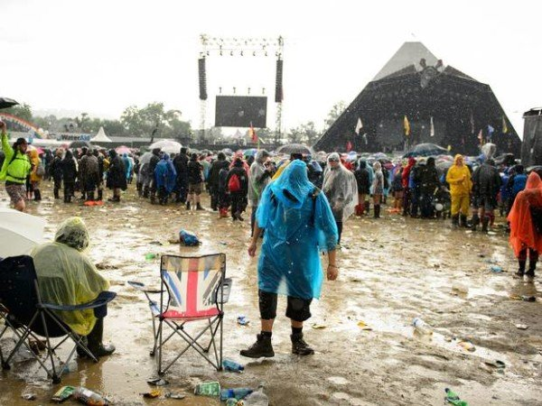 Glastonbury rain and mud