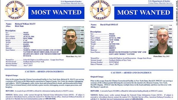 New York fugitives David Sweat and Richard Matt