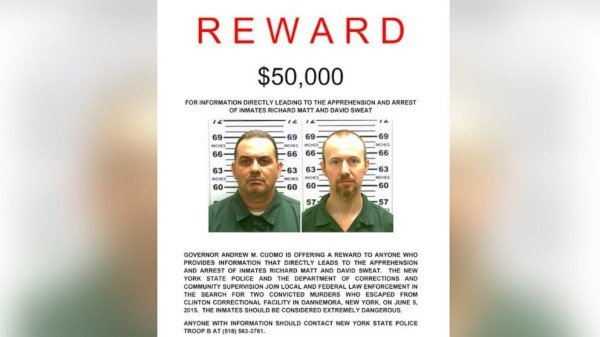 New York jailbreak reward Richard Matt and David Sweat