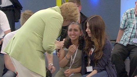 Angela Merkel crying Palestinian refugee