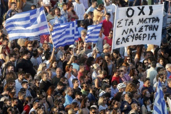 Greece bailout referendum rally