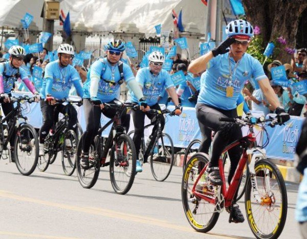 Crown Prince Maha Vajiralongkorn of Thailand Leads Bangkok Bike Ride