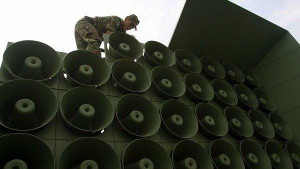 North Korea and South Korea loudspeaker war